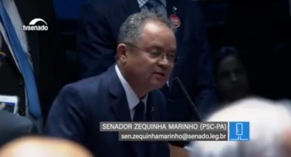 Senador Zequinha Marinho faz seu primeiro discurso no senado, e parabeniza o novo Presidente.