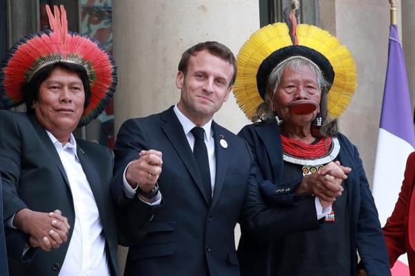 Macron recebe líder indígena e promete apoio para proteção aos povos do Xingu