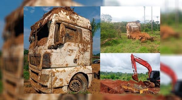 Caminhão prancha e tratores roubados são encontrados em propriedade rural de Novo Progresso