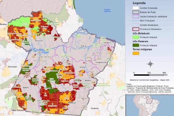 Terras indígenas no PA (laranja) e processos minerários (vermelho). Fonte: ações do MPF