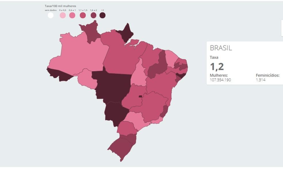 Monitor da Violência mostra número de feminicídios no Brasil em 2019 — Foto: Reprodução/G1