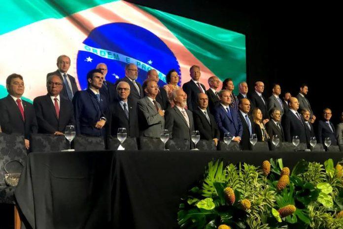 Governador Helder Barbalho na solenidade de posse da nova diretoria da Conamp