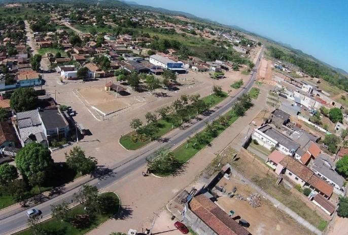 Vista aérea do centro da cidade de Rio Maria, as proximidades da prefeitura.