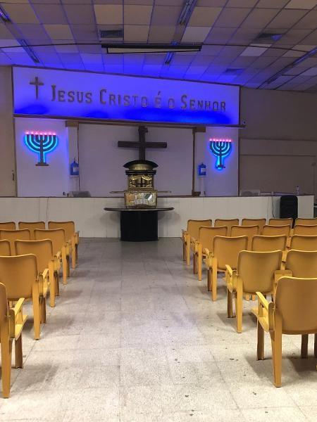 26.mar.2020 - Coronavírus muda rotina de fiéis. Igreja evangélica vazia na zona norte do RioImagem: Herculano Barreto Filho/UOL