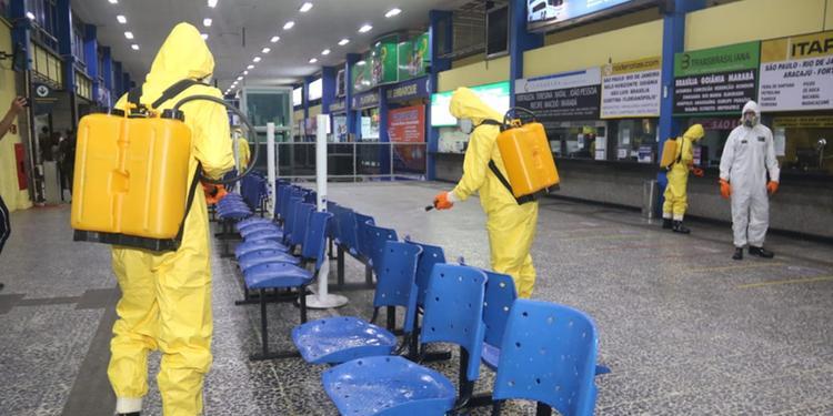 Terminal Rodoviário passou por desinfecção contra coronavírus esta segunda-feira: 32 casos no Pará (Cristino Martins / O Liberal)