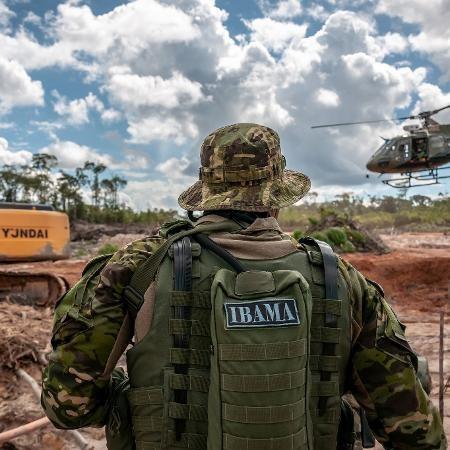 Grupo Especializado de Fiscalização (GEF) do Ibama combate desmatamento e garimpo de cassiterita na Terra Indígena Tenharim do Igarapé Preto, no Amazonas Imagem: Ibama