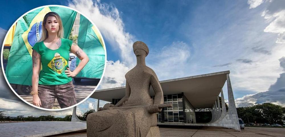 Sara Winter e fachada do STF (Foto: Reprodução | STF)