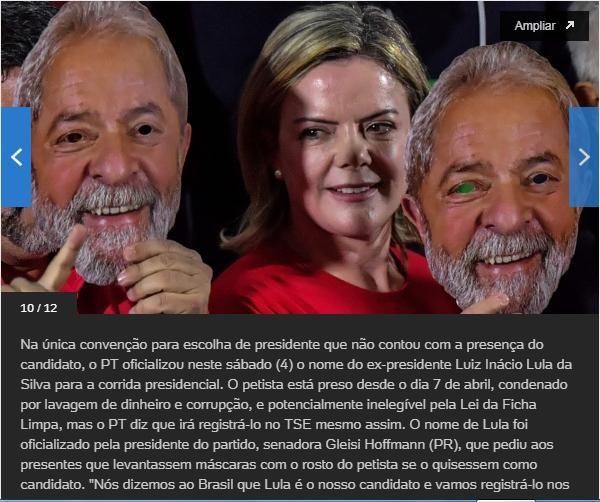 Lula diz em carta que confirmação de seu nome inicia