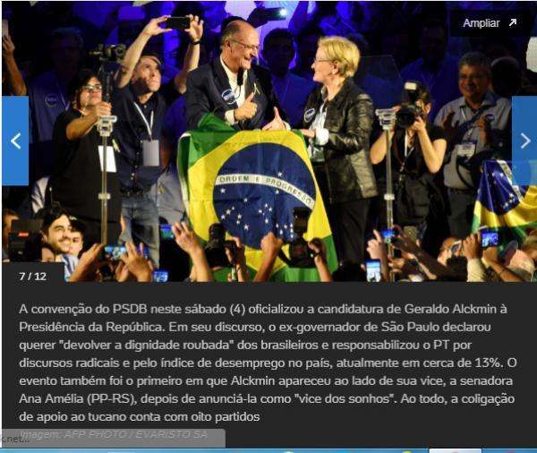 Em discurso como candidato, Alckmin diz querer